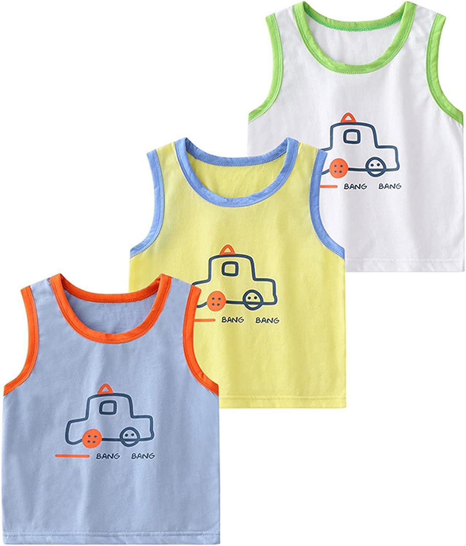 Rixin 3PCS Pack Baby Boys Vest Tops Sleeveless Cartoon Print Tank Top Summer Shirts 2-7T