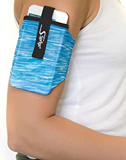 Sprigs Armband for iPhone 11/x/xr/8/7 Plus, Galaxy S10/S9, Google Pixel 4. Lightweight & Comfortable Running Armband, Stretches to Fit All Phones with Case - Blue Melange, Medium
