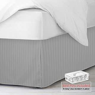 "Nestl Bedding Pleated Bed Skirt - Damask Dobby Stripe Bed Skirt - Luxury Microfiber Dust Ruffle - 14"" Tailored Drop - Bonus Bed Skirt Pins Set of 8 Included - Full, Silver"