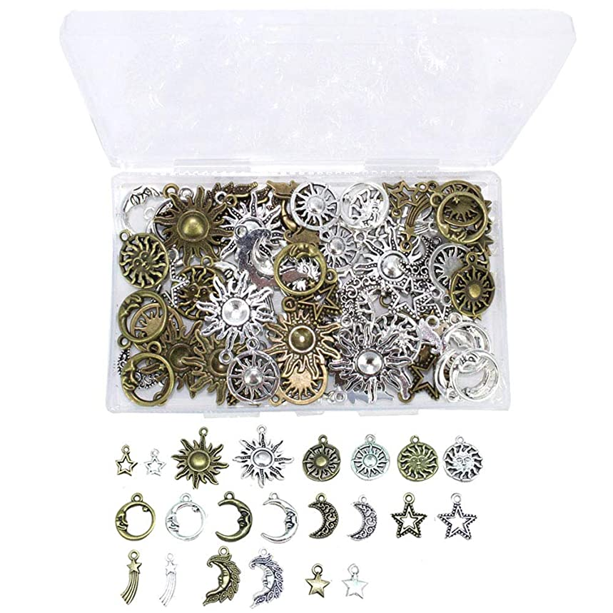ARTCXC 1Box(80Pcs) Mixed 2Colors Sun & Moon & Stars & Meteor Charms Pendants for Crafting, Jewelry Findings Making Accessory for DIY Necklace Bracelet - 10 Different Style