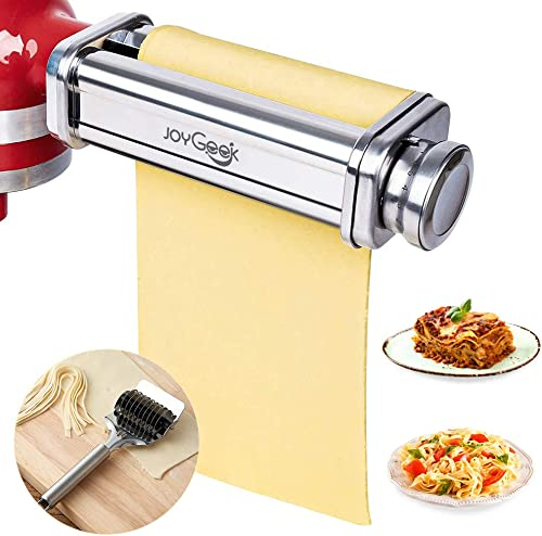 JoyGeek Pasta Roller Sheet Attachment for KitchenAid Stand Mixer, Stainless Steel Pasta Maker Accessories with Noodle...
