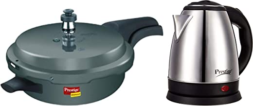 prestige Deluxe Plus Induction Base Pressure pan 3.1 L(Aluminium Hand anodised) and Electric Kettle PKOSS - 1500watts, Steel (1.5Ltr), Black Combo