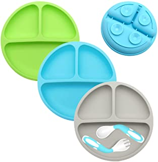 Suction Plates for Babies-3Pcs Set, 100% Silicone Toddler plates,Divided Baby Plates, Dishwasher & Microwave Safe,Food Gra...