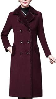 Women's Long Sherpa Coat with Faux Fur Lining Maxi Warm Wool Blend Jacket