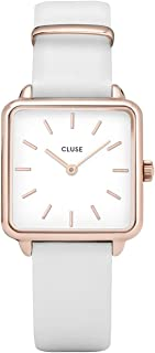 CLUSE LA TÉTRAGONE Rose Gold White White CL60006 Women's Watch 29mm Square Dial Leather Strap Minimalistic Design Casual Dress Japanese Quartz Elegant Timepiece