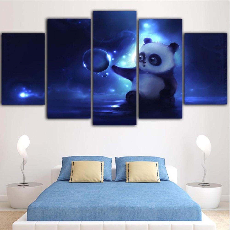 para barato Wsxxnhh 5 Unidades Arte De La Parojo Imágenes Imágenes Imágenes De Animales Decoración De Arte Pop Cuadros Enmarcados Panda Impresiones De CuadrosDecoración Deimágenesimagen Azul Grande-con Marco  protección post-venta