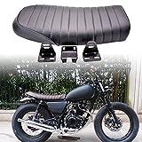 KaTur Universal Black Motorcycle Cafe Racer Seat Flat Vintage Seat Cushion Saddle for Honda CB125S CB550 CL350 450 CB CL Retro Cafe Racer