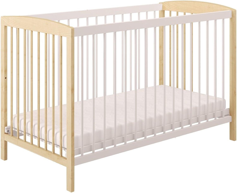 Polini Kids Babybett Gitterbett Kinderbett 120 x 60 cm wei grau Holz,3022-17