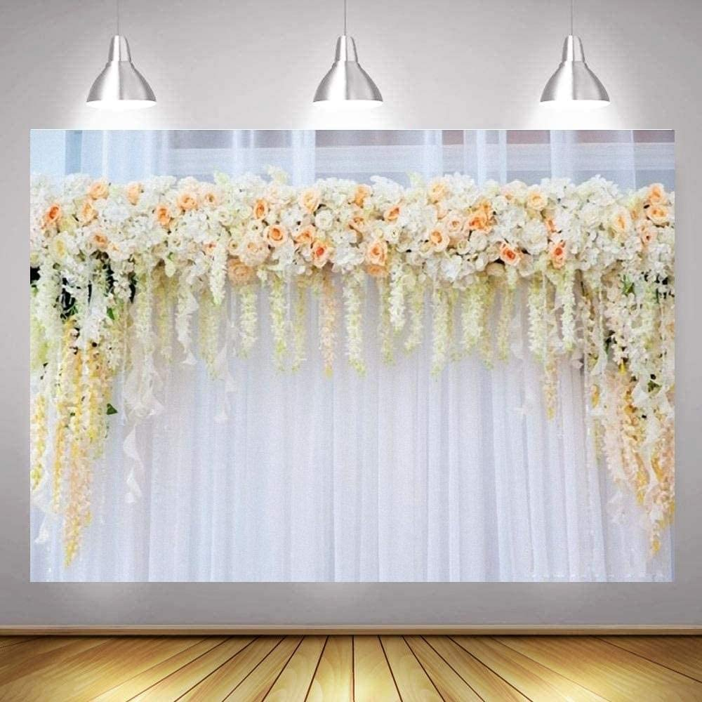Photo Background Wall Bridal Shower Large Thin Vinyl Wedding Floral Carnival Photography Background Backdrop Newborn Baby Shower Birthday Party Photo Backdrop Cloth White Floral Curtain