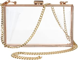Yocatech Women's Transparent Clear Purse Clutch Bag Evening Handbags Cross-Body Bag NFL Stadium Approved Acrylic,Chain Strap