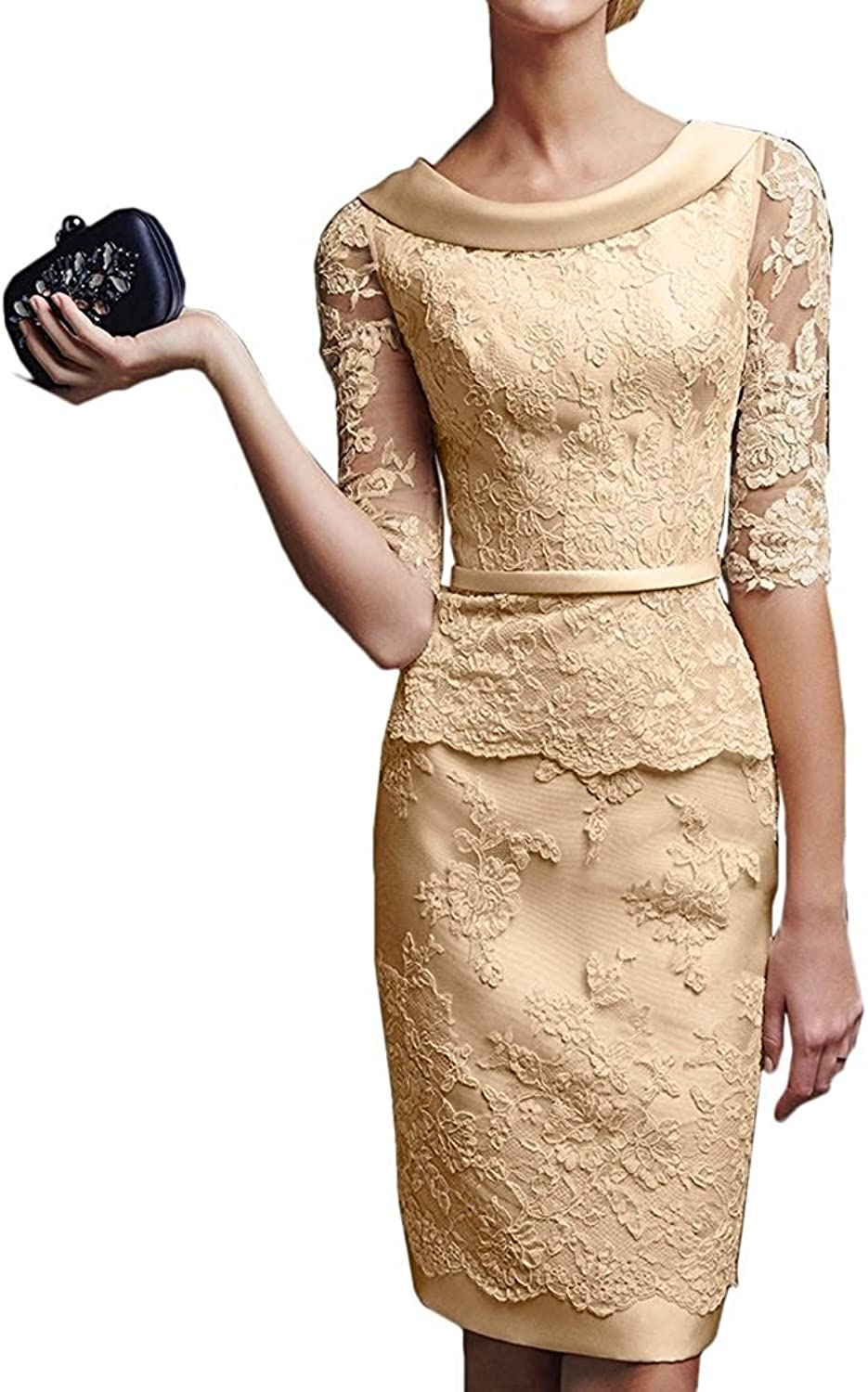 Alexzendra Bridal Short Sheath Half Sleeves Mother Of The Bride Lace Cocktail Dresses