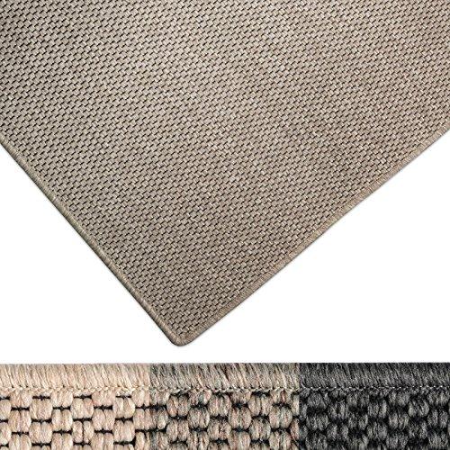 casa pura Moderner Teppich in Premium Sisal Optik | ausgezeichnet mit GUT-Siegel | pflegeleichtes Flachgewebe | viele Größen (Taupe, 66x130 cm)