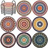 8er Set getränke-untersetzer, Saugfähige Untersetzer Set Mandala Keramikuntersetzer mit Korkboden, hitzebeständig geeignet für Tassen und Becher Zuhause Wohnzimmerdekoration, Untersetzer mit Halter