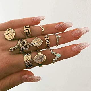 Nicute Boho Gold Rhinestone Stackable Joint Knuckle Ring Vintage Snake Carving Finger Rings Set for Women and Girls(10 Pieces)