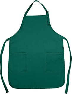 NuFazes Adjustable Bib Apron Spun Poly-Commercial, Restaurant Kitchen 2 Pocket in Dark Green