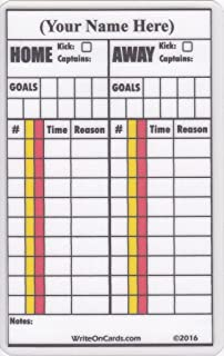 Soccer Write-on Referee Cards (x2), Personalized with your name. Game record with field-back