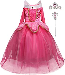iTVTi Girls Princess Dress Up Halloween Party Costume with Crown Wand 2-10 Years