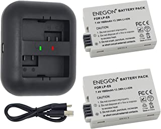 ENEGON LP-E8 互換バッテリー(1800mAh、2個)+USBデュアル充電器 Canon EOS Rebel T2i, T3i, T4i, T5i, EOS 550D, 600D, 650D, 700D, Kiss X4, X5, X...