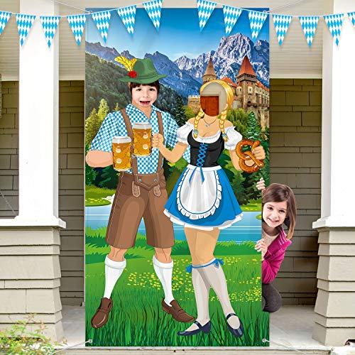 Bierfest Foto Stütze Große Foto Stand Hintergr& Tür Banner Lustige Bierfest Spiele Zubehör für Bierfest Party Bayerisches Bier Fest, 6 x 3 ft