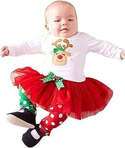 Christmas Clothes Hahuha  Toddler Kids Baby Girl Deer Dot Princess Dress Tops Pants Christmas Outfits Set