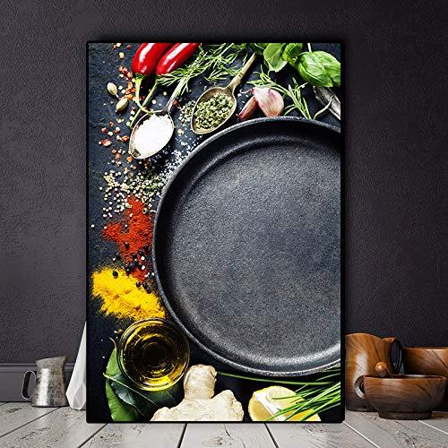 N / A Körner Gewürze Löffel und Korken Küche Leinwand Malerei Cuadros Poster und Drucke Wandkunst Lebensmittel Bild Wohnzimmer Wohnkultur 60x80cm ohne Rahmen