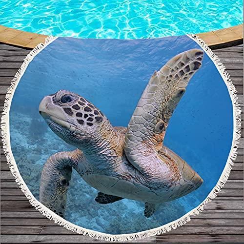 Toallas De Playa Redondas De La Serie Turtle, Toallas De Baño Absorbentes De Secado Rápido, Mantas De Playa De Microfibra, Tapetes De Playa A Prueba De Arena 150 * 150cm