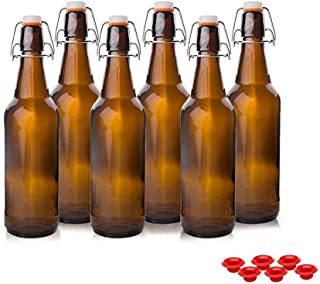 Kware -Best Swing Top Glass Bottle 16 Oz for Carbonation, Kombucha, Home Beer Brewing Amber [Set of 6]