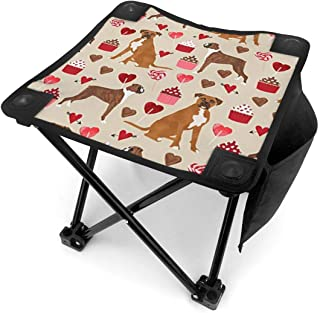DuoWi Boxer Dog Valentines Love Cupcakes Mini Folding Camping Stool with Carry Bag Portable Outdoor Foldable Chair for Camp, Fishing, Beach Travel Foot Rest