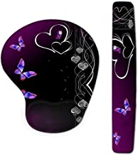 WINTOJO Keyboard Wrist Rest Pad and Mouse Wrist Rest Support Gaming Mouse Pad Ergonomic Gel Memory Foam Set for Computer, Laptop, Office, Pain Relief, Comfortably Typing, Purple Butterfly(NMP-02)