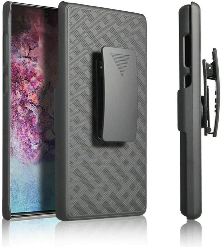 CellDealsUSA Case for Galaxy Note 10 -Belt Clip Holster Cell Protector Phone Case with Kick Stand Cover - Black