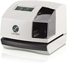 Lathem 100E Multi-Function Electronic Time Clock and Document Stamp, Can Be Mounted on Wall or Desk, Includes Key (100E)