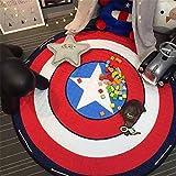Alfombra Redonda Infantil, Estera animal grande del juego de la historieta anti del resbalón del algodón con Bolsa De Almacenamiento Portátil - 150cm (Captain America)