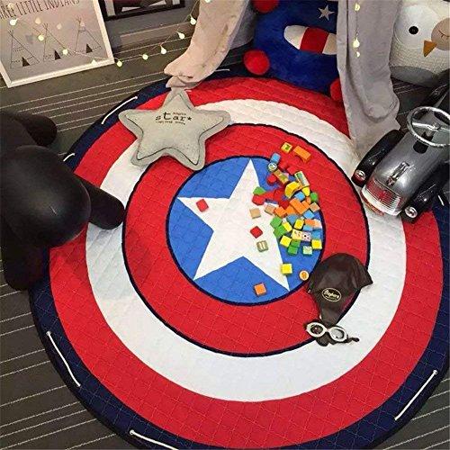 Fashion barra Kinder Aufräumsack Spielmatte Spielzeugteppich, große Baumwolle Anti Rutsch Cartoon Tier Kinder Stock Spiel Mat mit Kordelzug für Kinderzimmer - 150cm (Captain America)