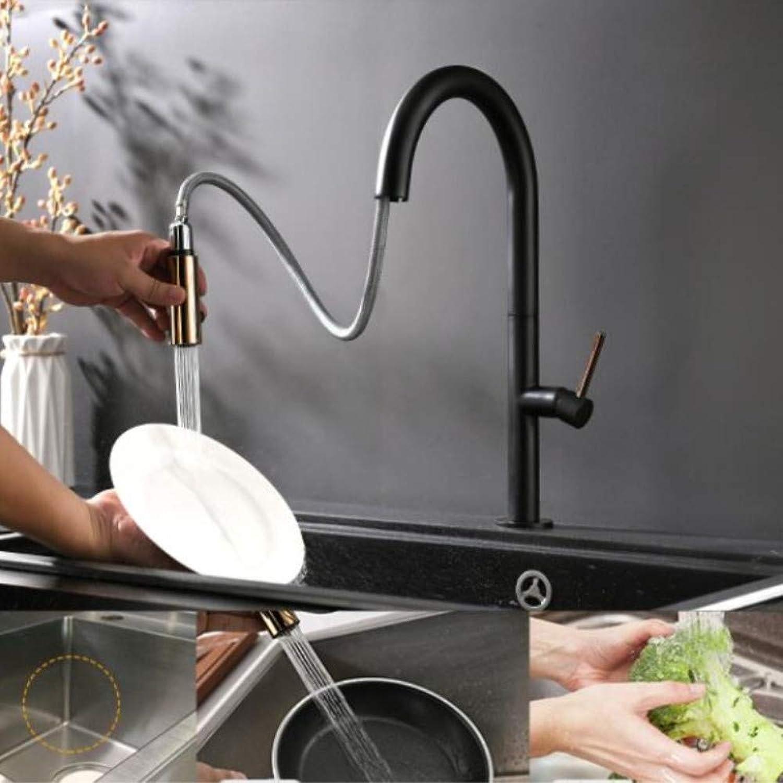 Ziehen Sie Küchenarmatur neu angekommen RoséGold und schwarz Sink Mischbatterie 360-Grad-Drehung Küchen-Mischbatterie