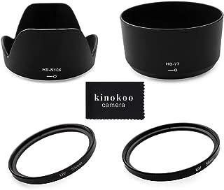 kinokoo Nikon ニコン D5600 D5300 D3400 D3500 ダブルズームキット 適合 レンズフード & フィルター 4点セット [ HB-N106 ] [ HB-77 ] [ レンズフィルター 55mm & 58mm ][レンズキャップ 55mm & 58mm]