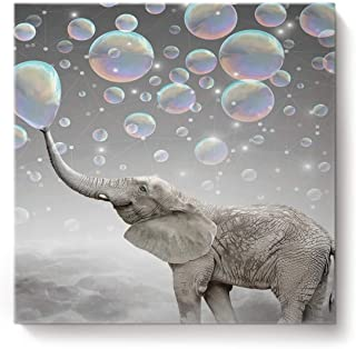 Square Canvas Wall Art Oil Painting for Bedroom Living Room Home Decor,Funny Elephant with Bubble Grey Pattern Office Artworks,Stretched by Wooden Frame,Ready to Hang,12 x 12 Inch
