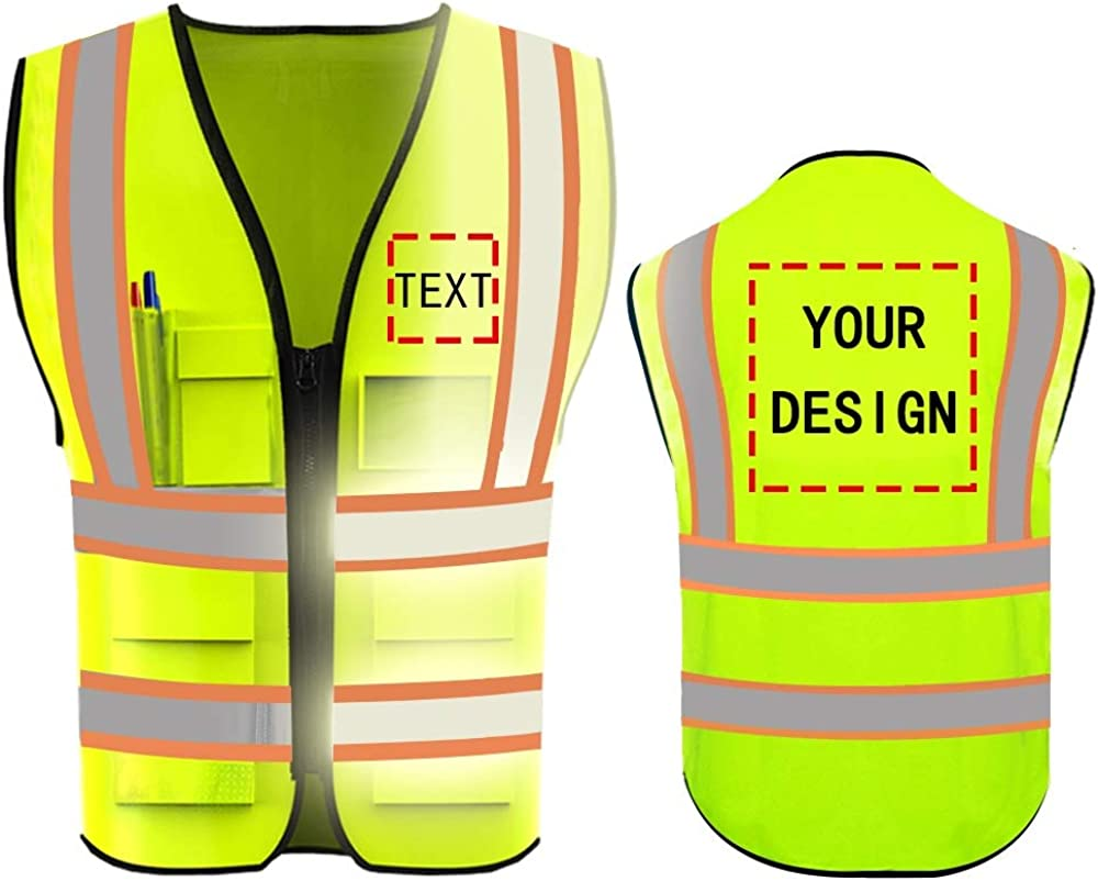 High Visibility Safety Vest Custom Your Logo Protective Workwear 5 ...