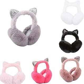 YENJO Women Cartoon Cat Ears Design Windproof Warm Adjustable Earmuffs Earmuffs