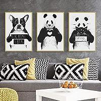 キャンバス絵画北欧の家の装飾壁アートポスター漫画プリント動物パンダ犬の写真リビングルームの白黒絵画-40x60cmフレームなし