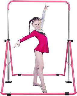 Aricku Kids Gymnastics-bar for Home Training - Folding Expandable Monkey bar,Adjustable Height Horizontal bar