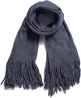 WJTWJSD Fringed Double-Sided Solid Color Scarf to Increase Thickening Warm Big Shawl Scarves (Color : Gray, Size : 200cm)