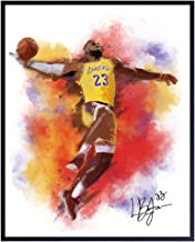 Lebron James Basketball Watercolor Wall Art Print - Unframed Photo - Great African American Home Decor or Gift For Art Lov...