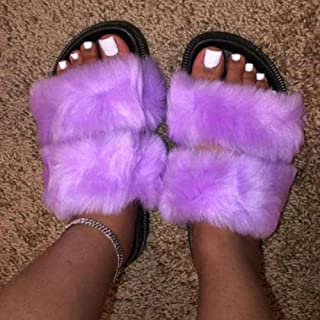 COQUI slippers mens,Two bars, one-word home thick bottom fur slippers-purple_34