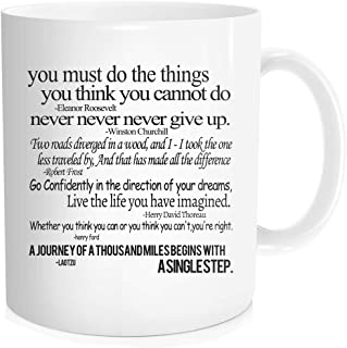 Hasdon-Hill Funny Coffee Mug for Men Women with Inspirational Sayings Quotes, Cute Inspirational Mugs Unique Gift for Dad Mom Friends Friendship Birthday Christmas 11 oz Bone China White