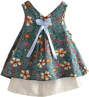 LittleSpring Girls Kids Children's Sleeveless T-Shirt Shorts