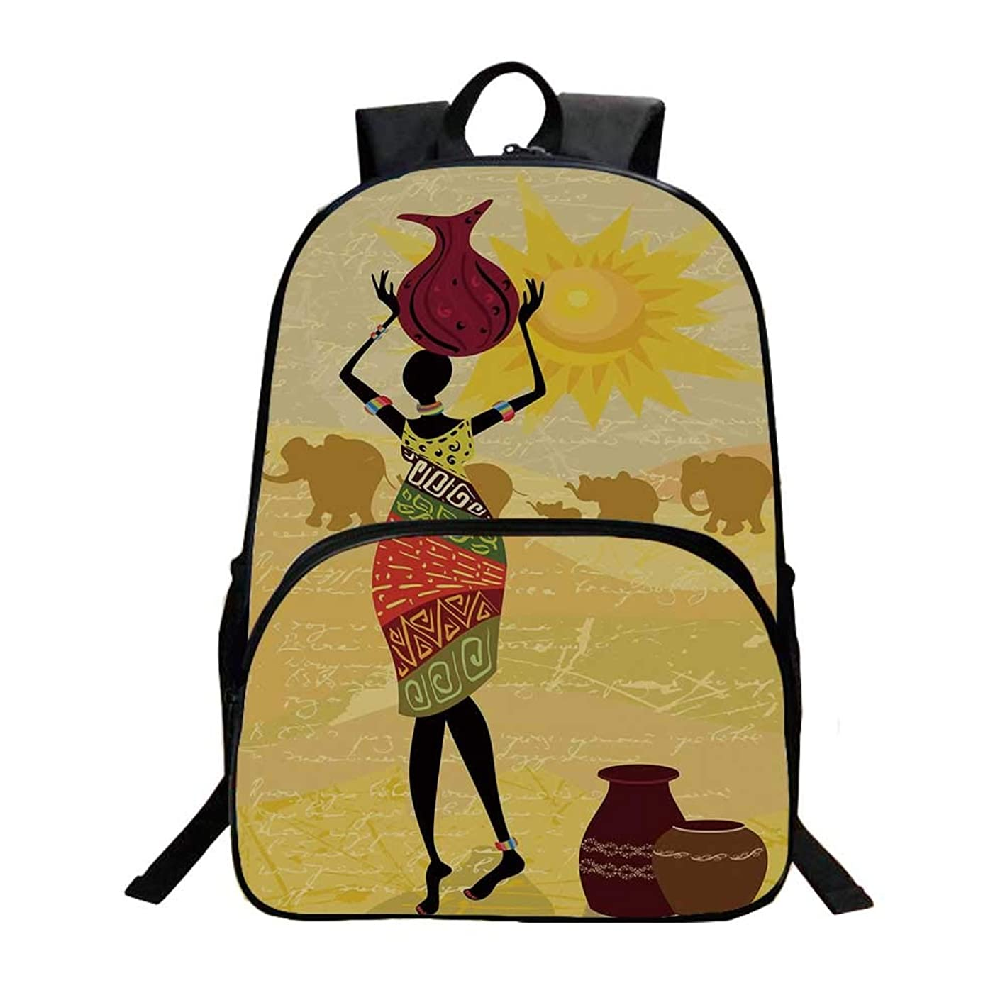 African Woman Fashionable Backpack,Artistic Vintage Landscape Local Woman Elephants Sun Figure Hand Writing Decorative for Boys,11.8