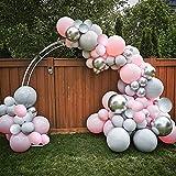 Juego de 108 globos de color rosa, globos grises son adecuados para baby shower, revelación de género, cumpleaños, boda, compromiso, Navidad y decoración de fiesta de princesa.