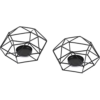 Votive Candle Holders, Metal Cage Votive Tealight Candle Holder with Geometric Shapes, Minimalist Candlestick for Weddings, Parties, Fireplace, Home and Christmas Decor,Made of Iron, Set of 2 pcs