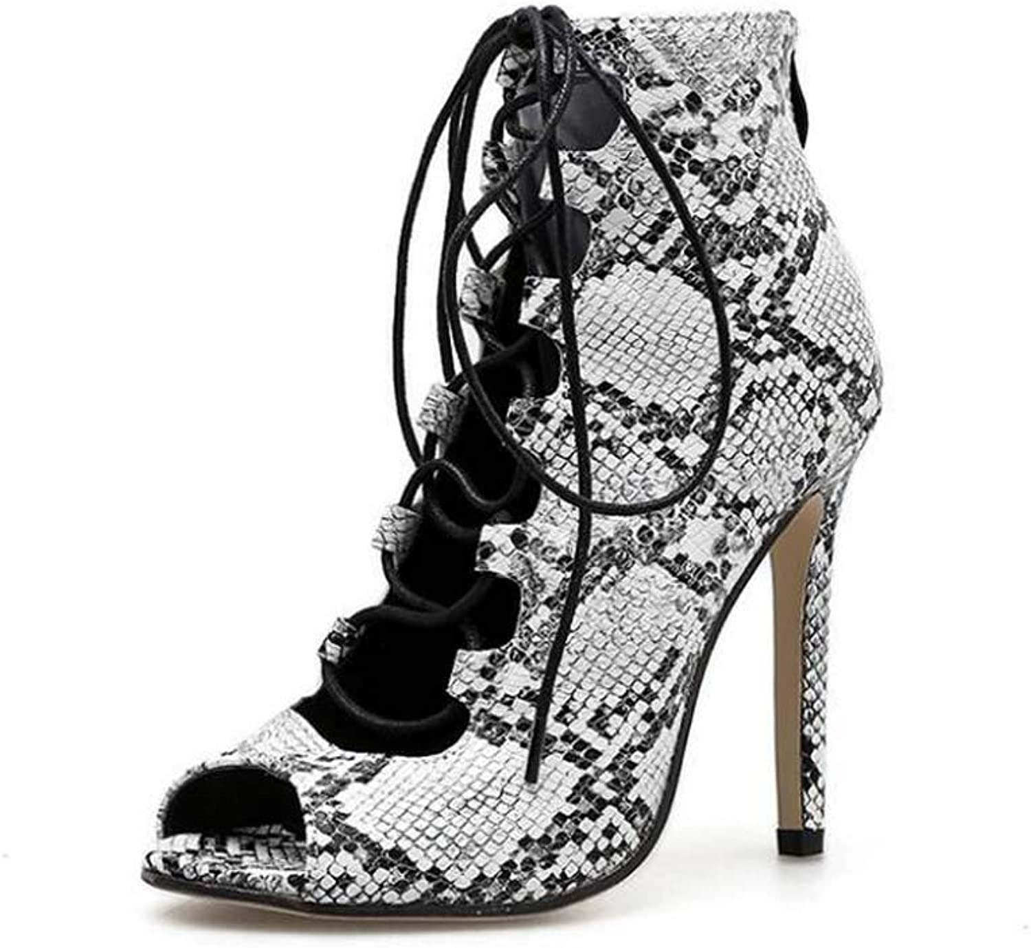 Peep Toe High Heel Cool Booite Cross Straps Ankle Bootie Women Sexy Snake Pattern 11.5Cm Stiletto Party Dress shoes EU Size 34-40