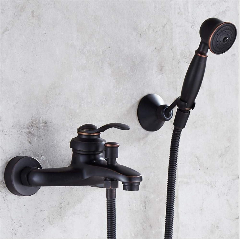 GZF Duschsystem Badewanne Mischbatterie Bad Duscharmaturen Wasserfall Duschkopf Badezimmer-Mischbatterie Armatur Regendusche Satz,schwarz